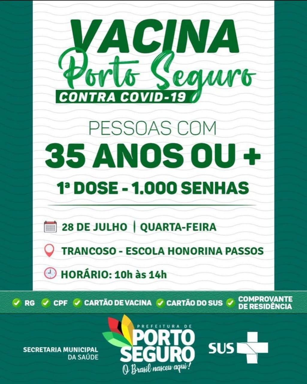 Vacina Porto Seguro contra Covid-19; cronograma de vacinação de 26 a 28 de julho 33
