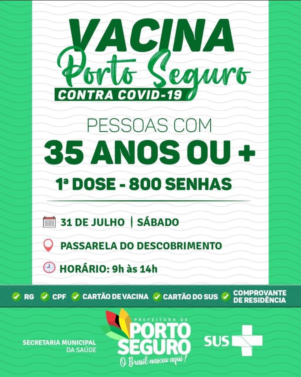 Vacina Porto Seguro contra Covid-19; cronograma de vacinação de 30 a 31 de julho 26