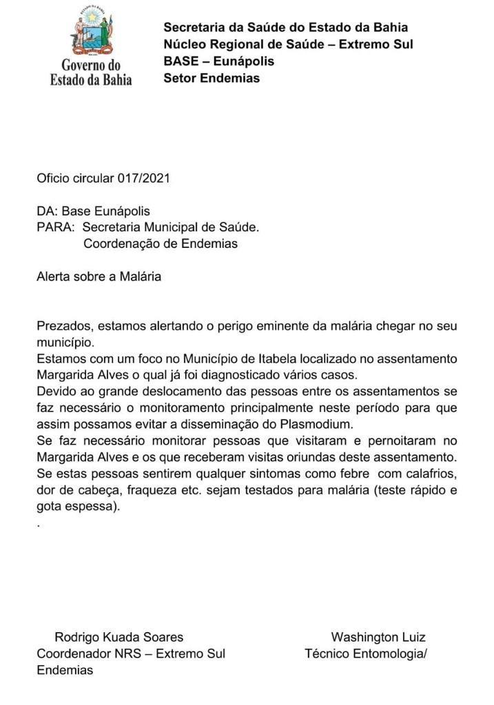 Prefeitura de Eunápolis reforça alerta à população sobre aumento de casos de malária na região 17