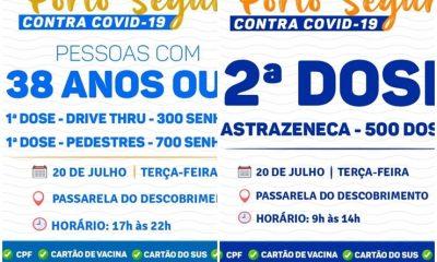 PORTO SEGURO: TERÇA É DIA DE VACINAÇÃO CONTRA A COVID-19 19