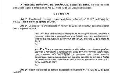 Prefeitura prorroga decreto com medidas restritivas para Eunápolis 15