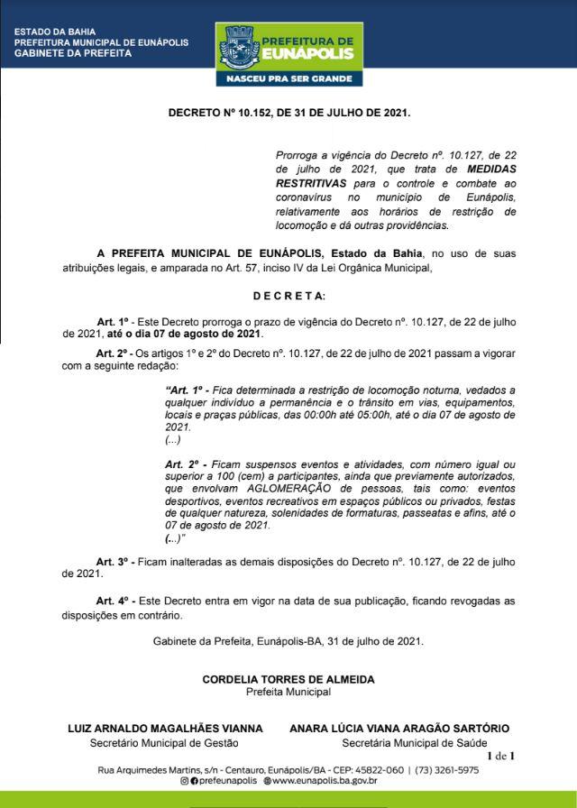 Prefeitura prorroga decreto com medidas restritivas para Eunápolis 18