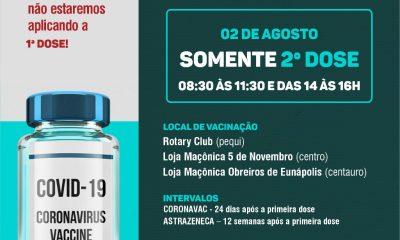 Secretaria de Saúde informa que nesta segunda serão aplicadas somente segundas doses 115