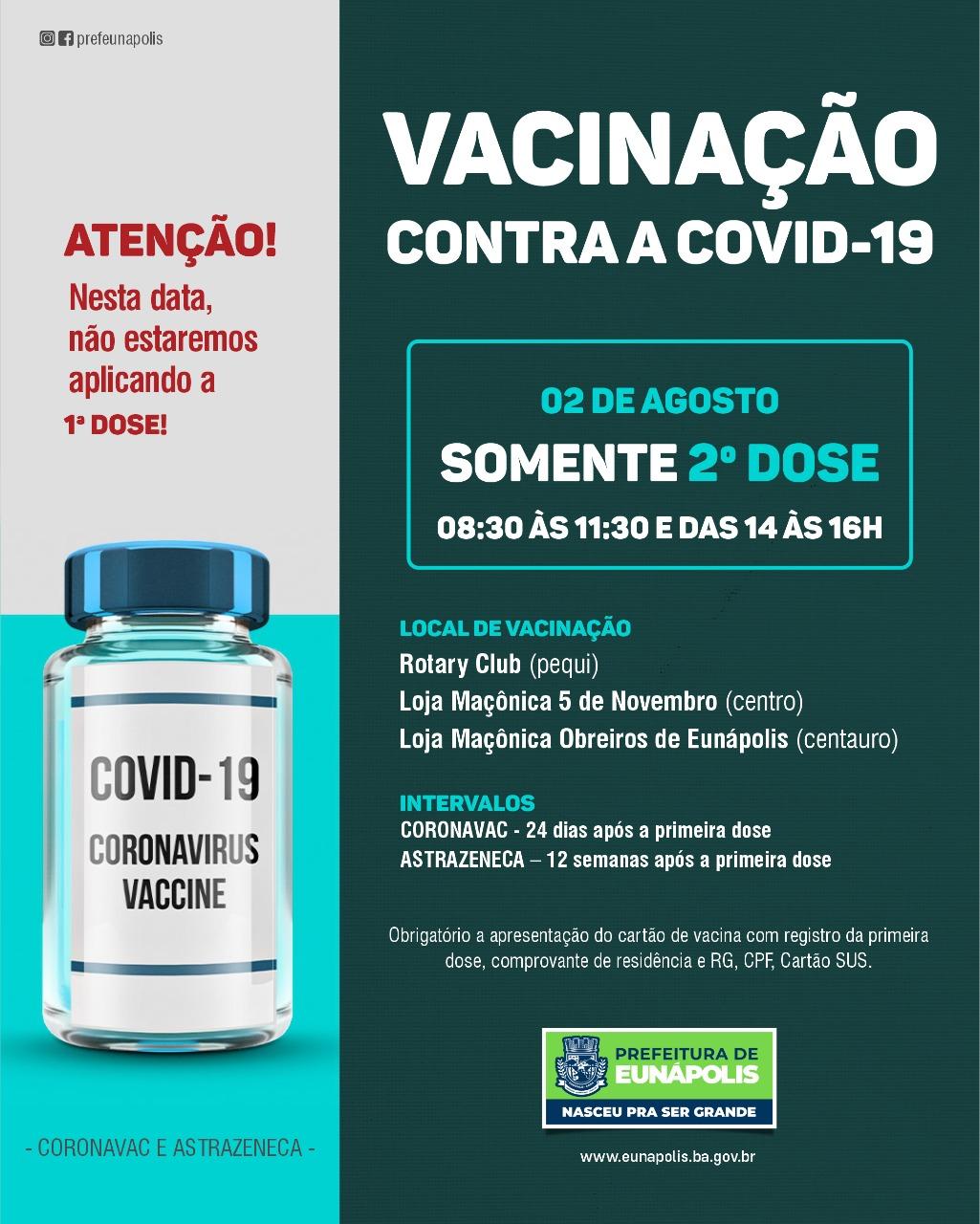 Secretaria de Saúde informa que nesta segunda serão aplicadas somente segundas doses 18
