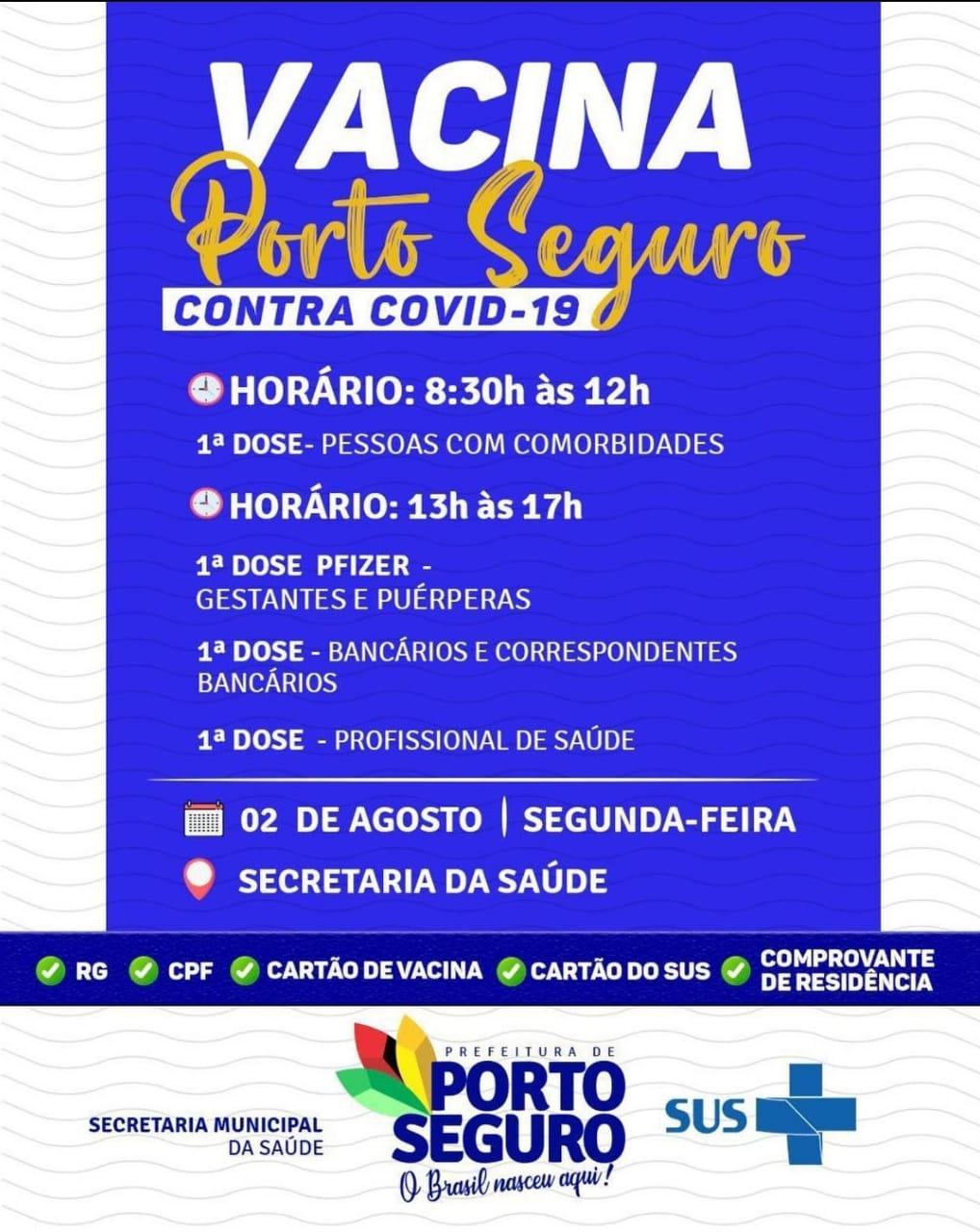 Vacina Porto Seguro contra Covid-19; cronograma de vacinação de 02 a 04 de Agosto 32