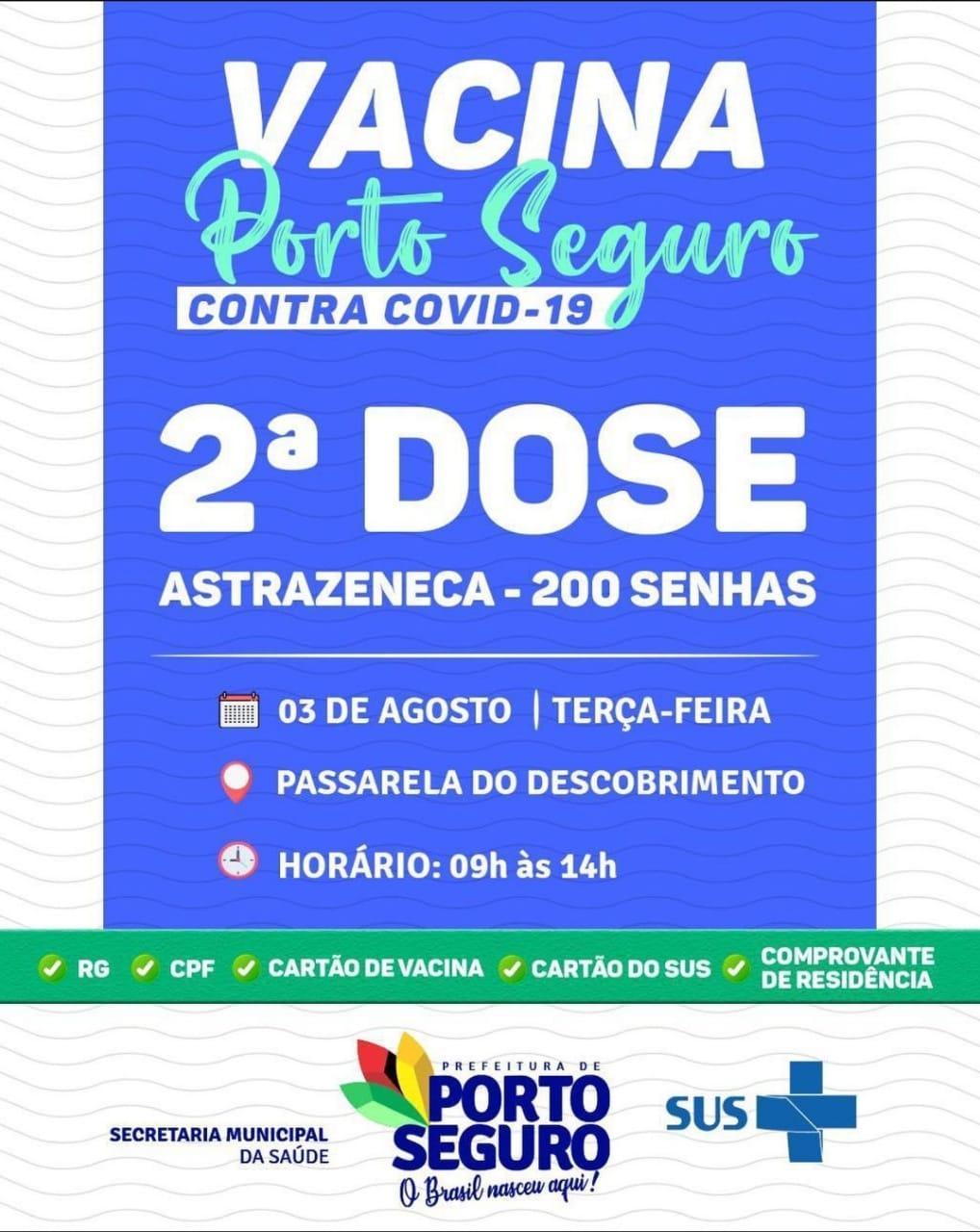 Vacina Porto Seguro contra Covid-19; cronograma de vacinação de 02 a 04 de Agosto 34