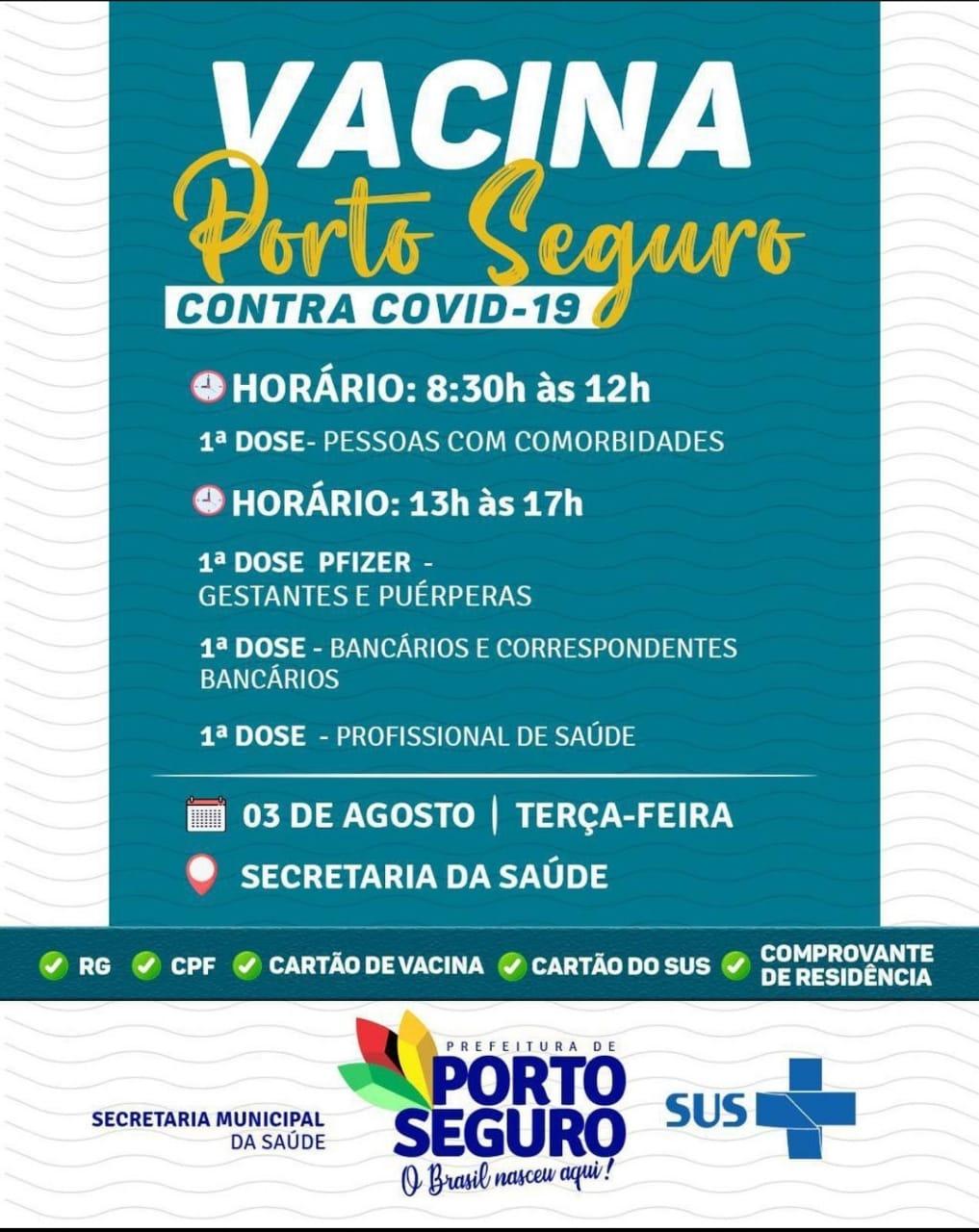 Vacina Porto Seguro contra Covid-19; cronograma de vacinação de 02 a 04 de Agosto 35