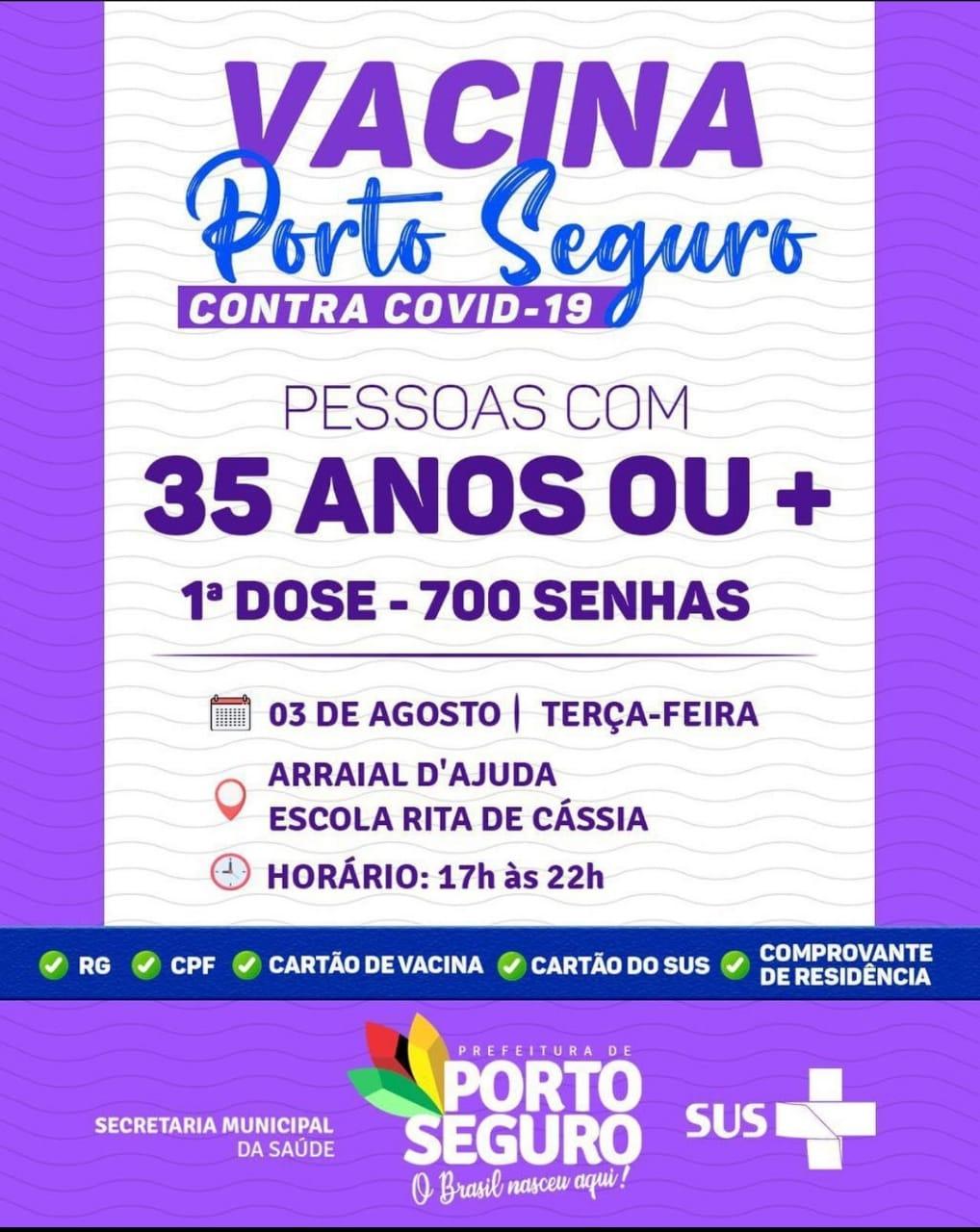Vacina Porto Seguro contra Covid-19; cronograma de vacinação de 02 a 04 de Agosto 36