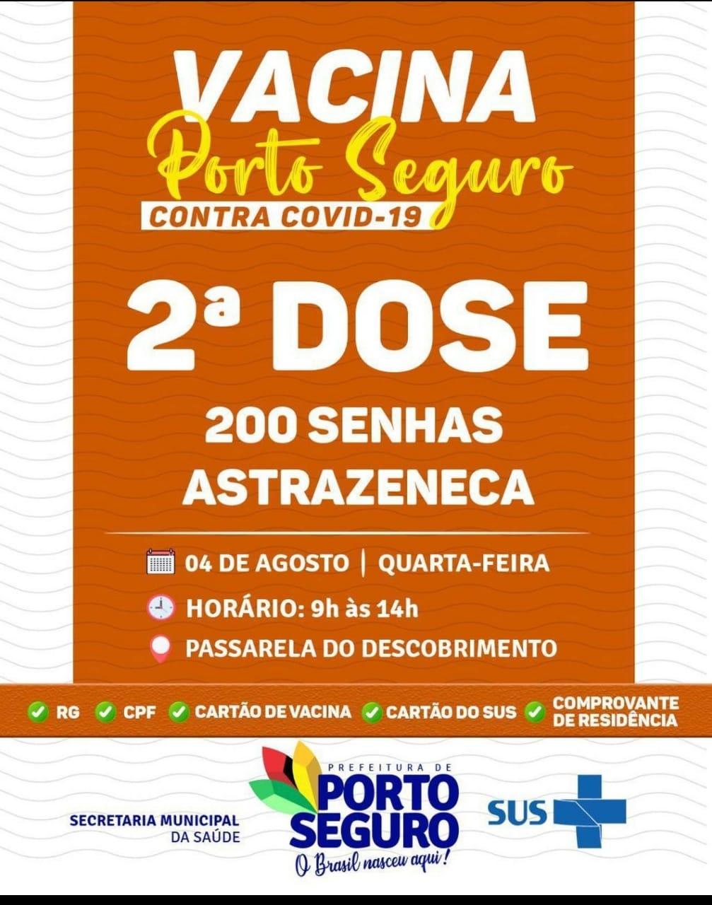 Vacina Porto Seguro contra Covid-19; cronograma de vacinação de 02 a 04 de Agosto 38