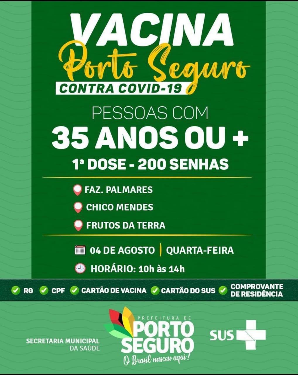 Vacina Porto Seguro contra Covid-19; cronograma de vacinação de 02 a 04 de Agosto 39