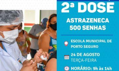 Porto Seguro: Cronograma de Vacinação contra a Covid-19 (2ª dose); 23 e 24 de agosto 66