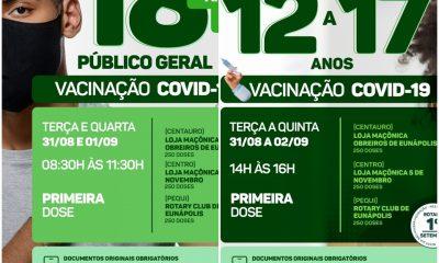 Eunápolis: Cronograma de Vacinação contra a Covid-19 (18 anos ou + - 1ª DOSE PARA ADOLESCENTES COM COMORBIDADES - 12 À 17 ANOS) 33