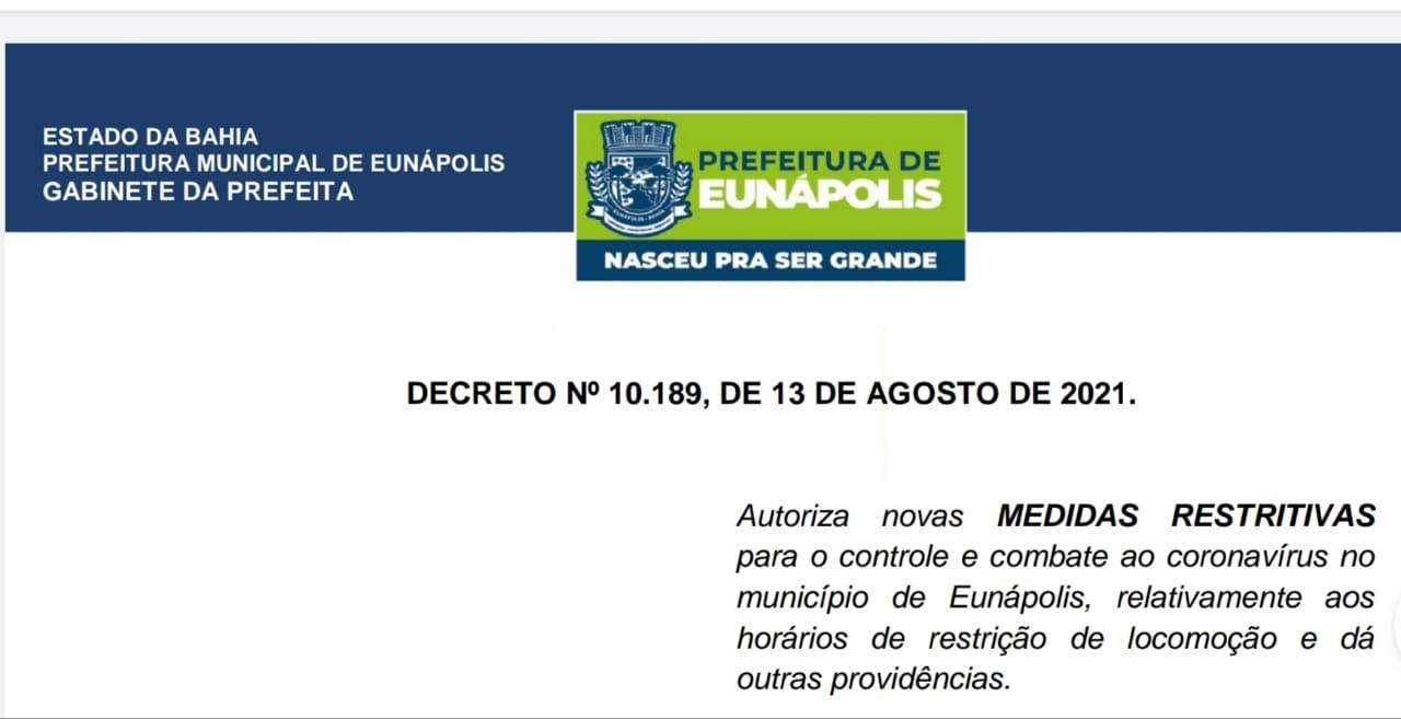 Novo decreto suspende toque de recolher, mas mantém medidas restritivas em Eunápolis 19
