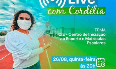 """Prefeita convida população eunapolitana para participar da """"Live com Cordélia"""" nesta quinta-feira 34"""