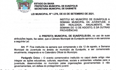 Prefeita sanciona lei que institui Semana Municipal da Juventude em Eunápolis 8