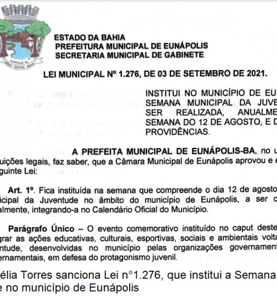 Prefeita sanciona lei que institui Semana Municipal da Juventude em Eunápolis 42