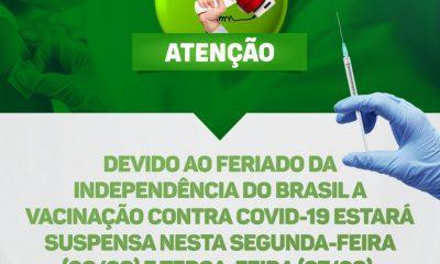 Covid - Secretaria Municipal de Saúde de Eunápolis avisa que nos dias 06 e 07 não haverá vacinação 21