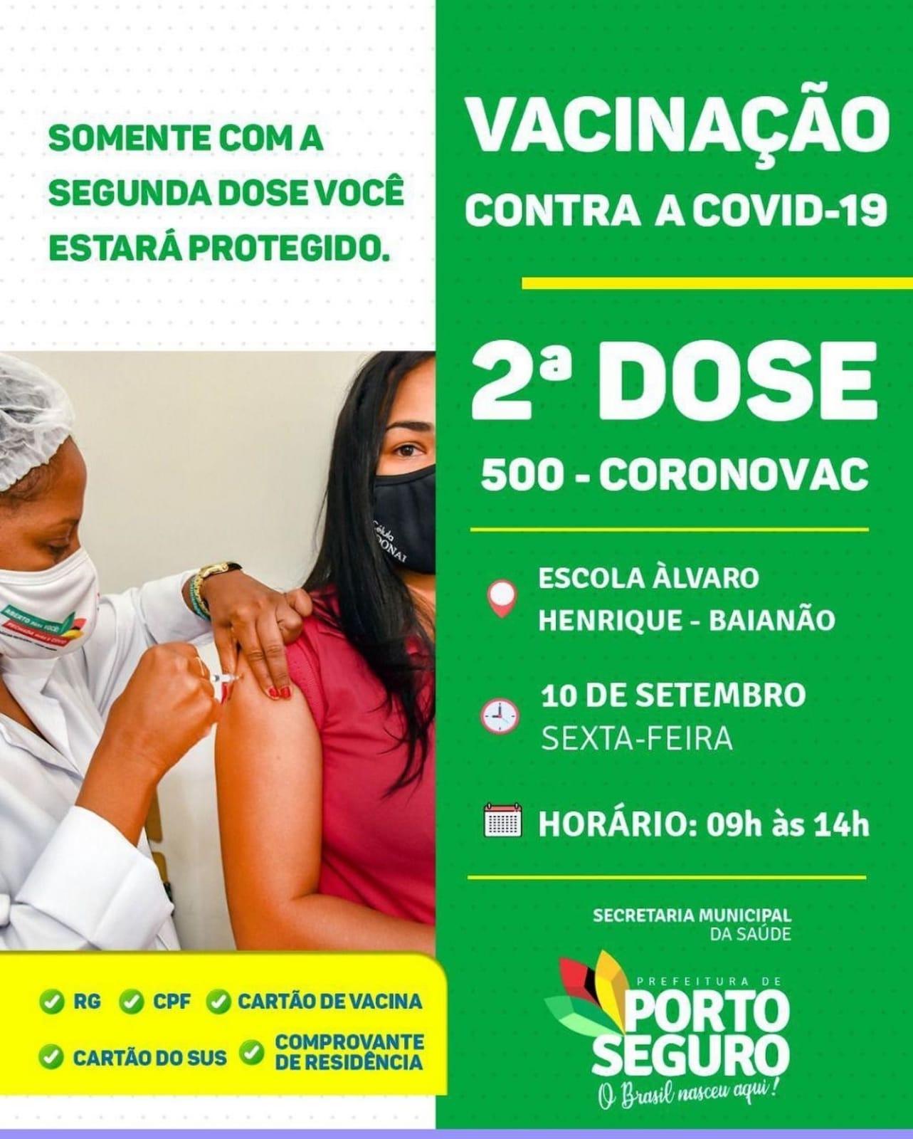 Porto Seguro: Cronograma de Vacinação contra a Covid-19 (10 de SETEMBRO) 22