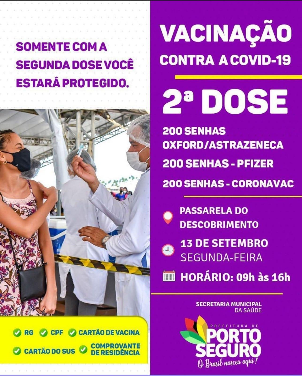Porto Seguro: Cronograma de Vacinação contra a Covid-19 (13 de SETEMBRO) 24
