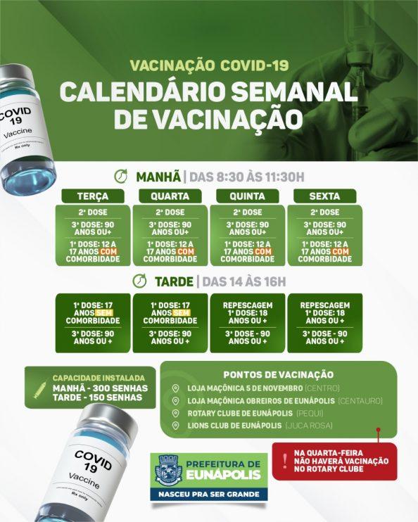 EUNÁPOLIS: CALENDÁRIO SEMANAL DE VACINAÇÃO COVID-19 18