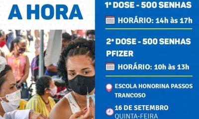 Cronograma de Vacinação contra Covid-19 em Porto Seguro (dia 16 de setembro) 21