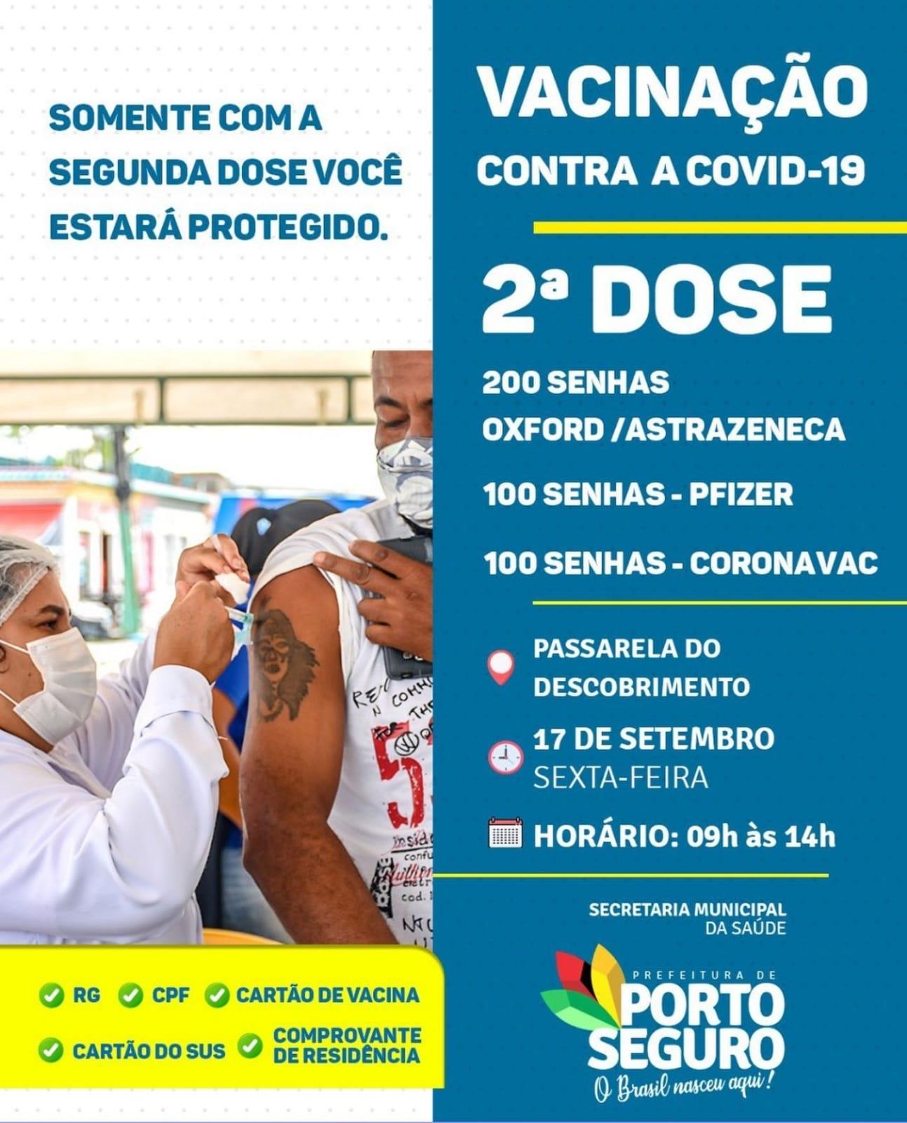 Porto Seguro: Cronograma de Vacinação contra a Covid-19 (17 de SETEMBRO) 29