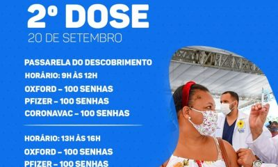 Porto Seguro: Cronograma de Vacinação contra a Covid-19; de 20 a 22 de setembro 16