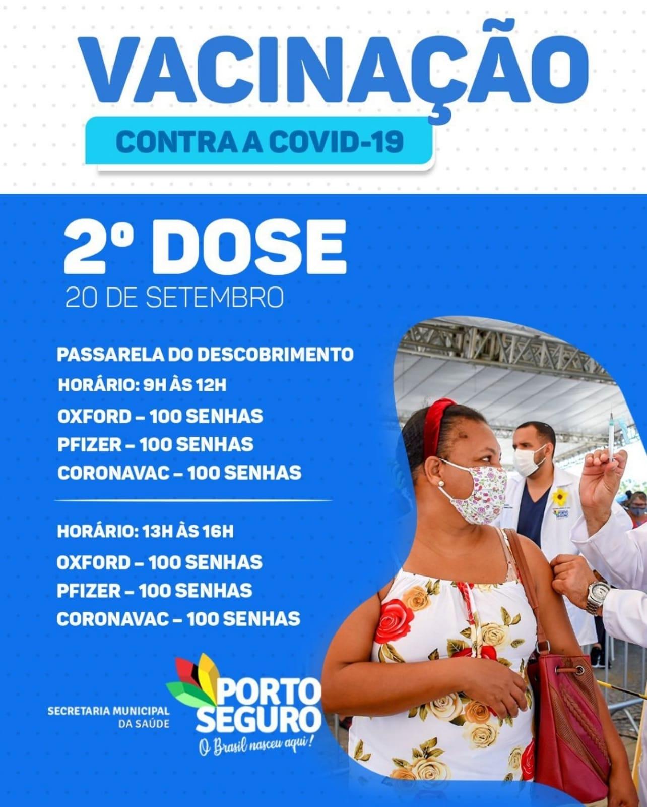 Porto Seguro: Cronograma de Vacinação contra a Covid-19; de 20 a 22 de setembro 29