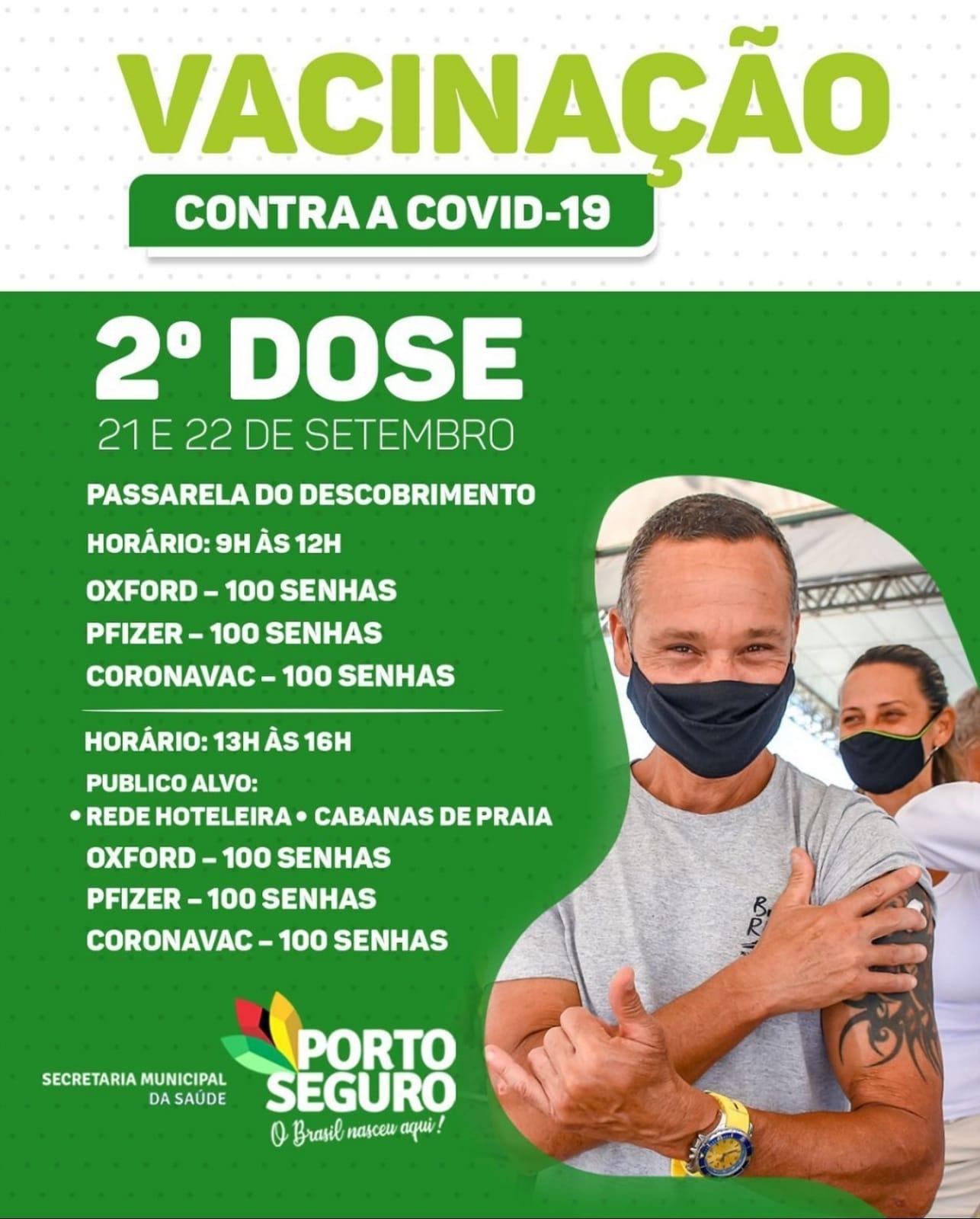Porto Seguro: Cronograma de Vacinação contra a Covid-19; de 20 a 22 de setembro 30