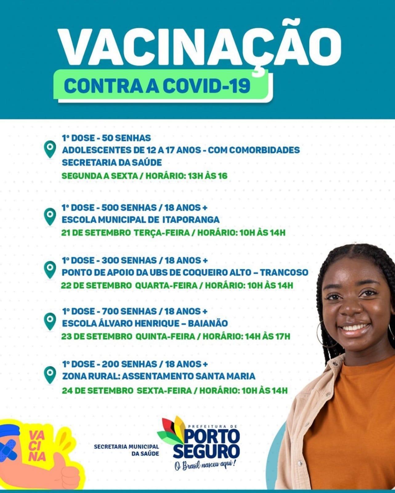 Porto Seguro: Cronograma de Vacinação contra a Covid-19; de 20 a 22 de setembro 31