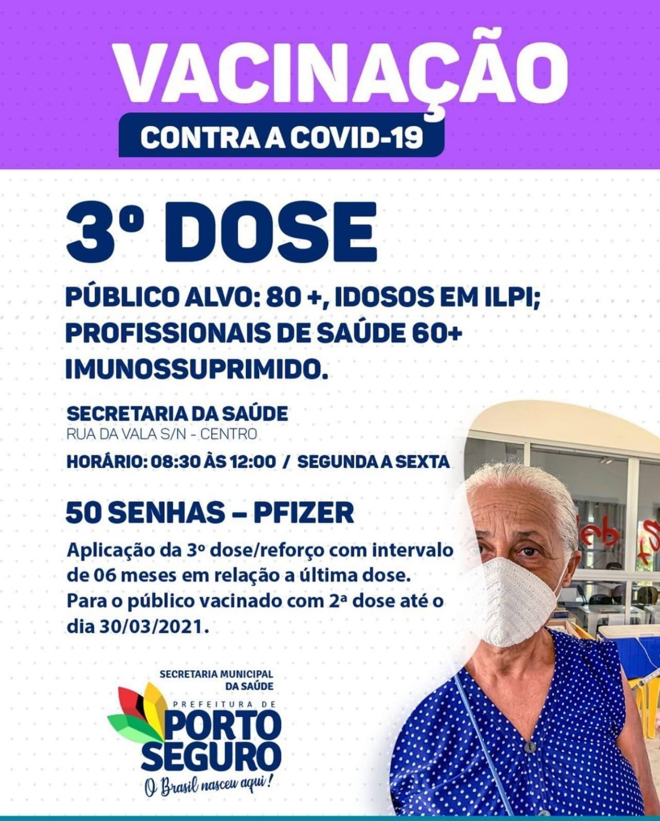 Porto Seguro: Cronograma de Vacinação contra a Covid-19; de 20 a 22 de setembro 32