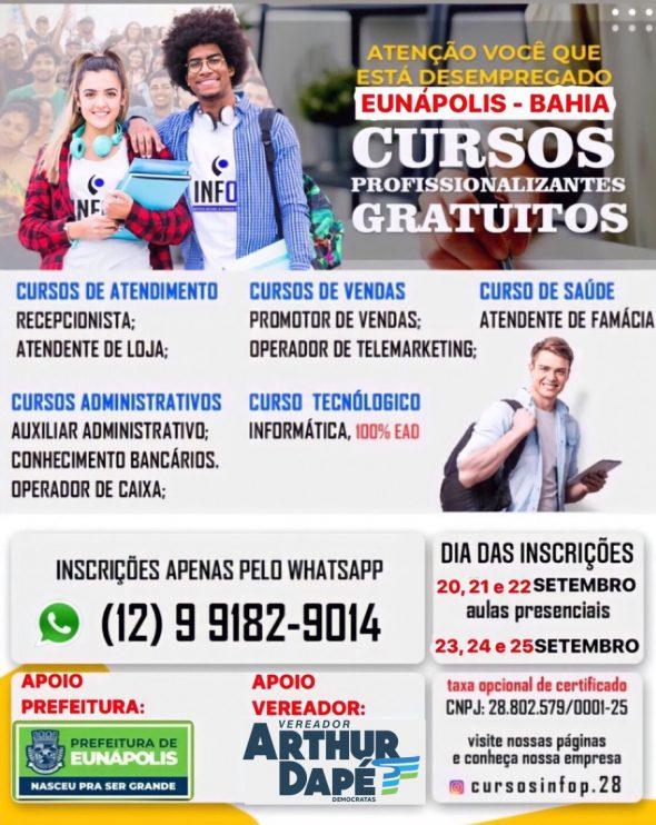 O INFOP abre inscrições para cursos profissionalizantes gratuitos em Eunápolis 23