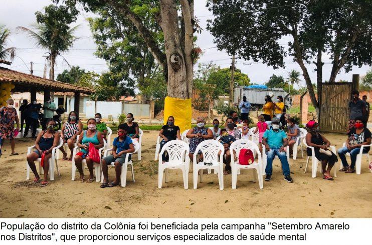 """Setembro Amarelo nos Distritos"""" leva serviços especializados em saúde mental para população da Colônia 29"""