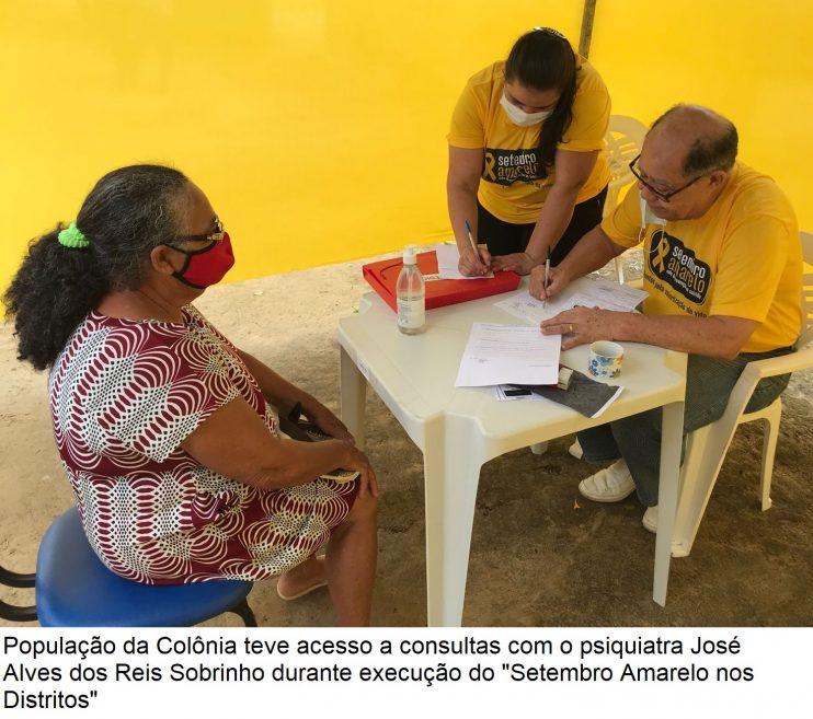 """Setembro Amarelo nos Distritos"""" leva serviços especializados em saúde mental para população da Colônia 30"""