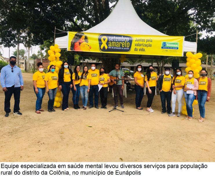"""Setembro Amarelo nos Distritos"""" leva serviços especializados em saúde mental para população da Colônia 31"""