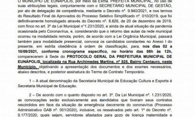 Prefeitura de Eunápolis convoca 65 professores aprovados em processo seletivo 40