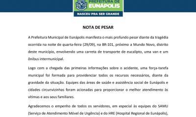 Prefeitura de Eunápolis emite Nota de Pesar e decreta Luto Oficial pelo trágico acidente em Mundo Novo 21