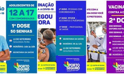Porto Seguro: Cronograma de Vacinação contra a Covid-19 (13 de SETEMBRO) 33