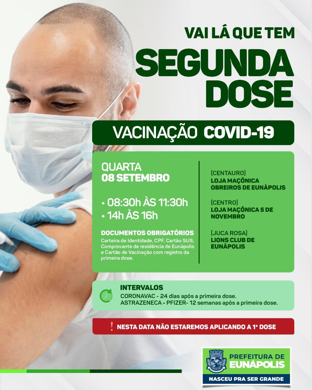 Vacinação contra a Covid-19: apenas segunda dose será aplicada nesta quarta-feira 18