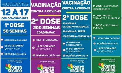 Porto Seguro: Cronograma de Vacinação contra a Covid-19 (15 de SETEMBRO) 27