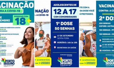 Porto Seguro: Cronograma de Vacinação contra a Covid-19 (17 de SETEMBRO) 22