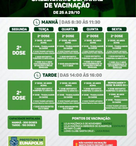 EUNÁPOLIS: CALENDÁRIO SEMANAL DE VACINAÇÃO COVID-19   DE 25 A 29/10] 21