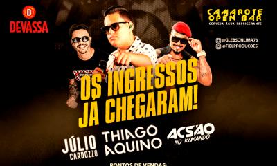 Ingressos para o show de Thiago Aquino em Eunápolis já estão disponíveis nos pontos de vendas 36