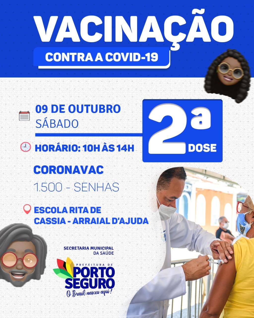 Porto Seguro: Segunda dose de vacina; Outubro Rosa e Novembro Azul 25