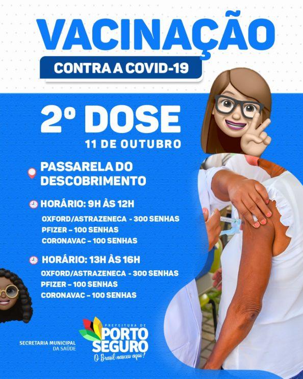Porto Seguro: Cronograma de Vacinação contra a Covid-19; de hoje 11/10 27