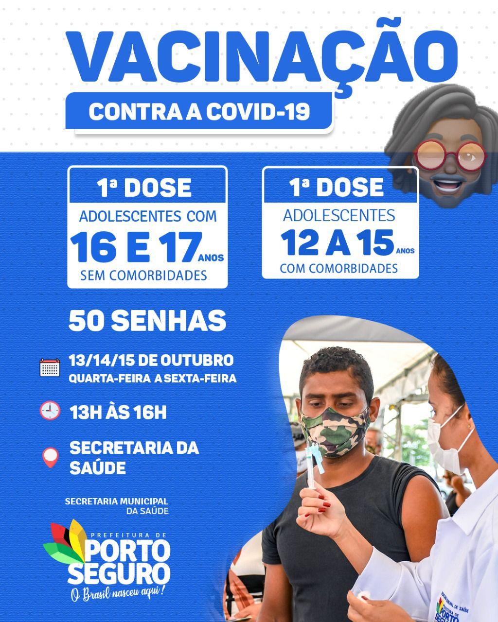 Porto Seguro: Cronograma de Vacinação contra a Covid-19; de 13 a 15/10 29