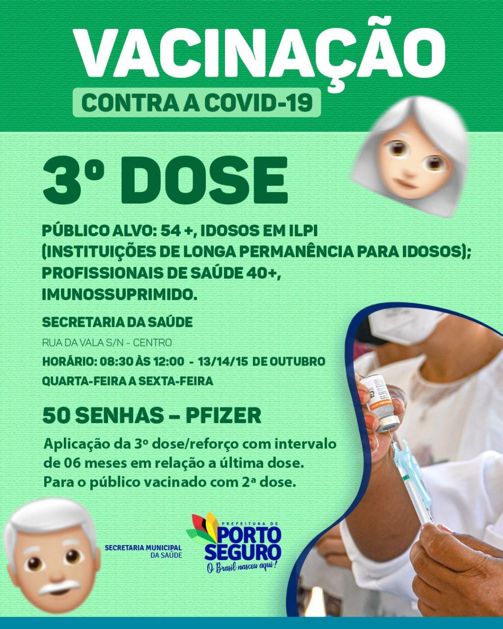 Porto Seguro: Cronograma de Vacinação contra a Covid-19; de 13 a 15/10 32