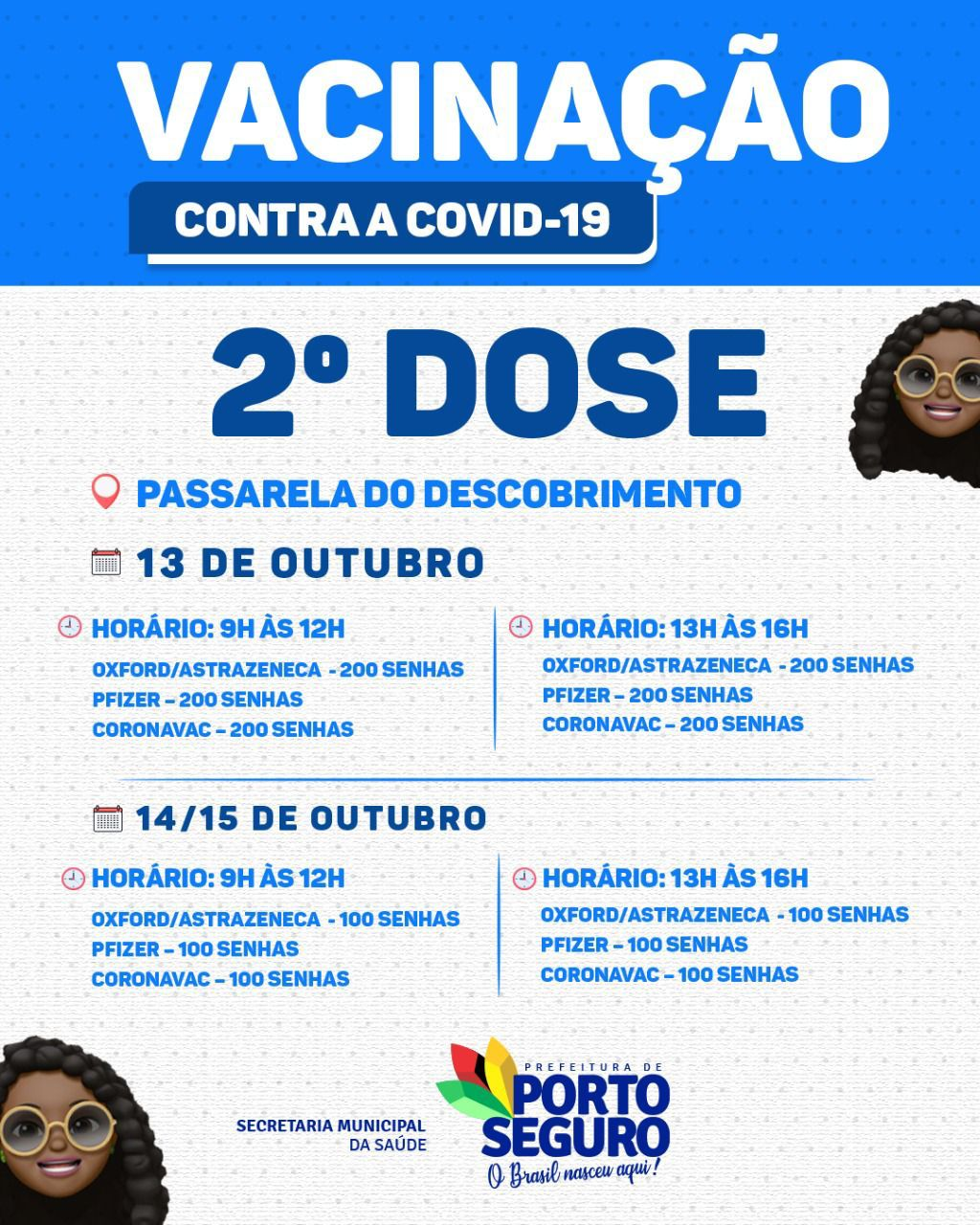 Porto Seguro: Cronograma de Vacinação contra a Covid-19; de 13 a 15/10 30