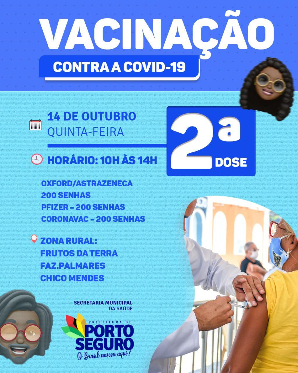 Porto Seguro: Cronograma de Vacinação contra a Covid-19; de 13 a 15/10 31