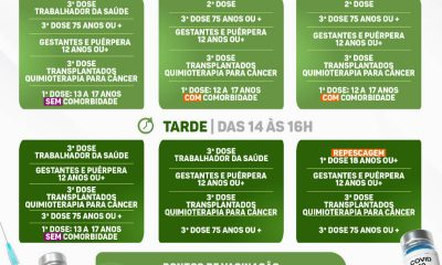 EUNÁPOLIS: CALENDÁRIO DE VACINAÇÃO COVID-19 | DE 13 A 15/10 17